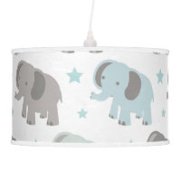 Baby Blue Elephant Hanging Lamp