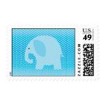 Baby Blue Elephant on Blue Stamp