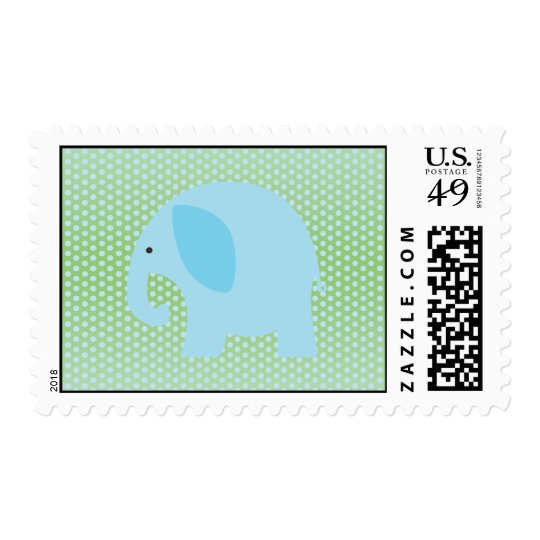 Baby Blue Elephant on Mint Green Postage