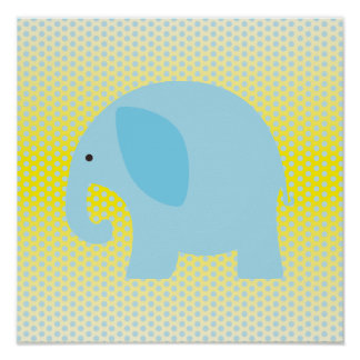 Baby Blue Elephant on Yellow Poster