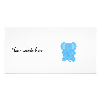 Baby blue elephant photo card