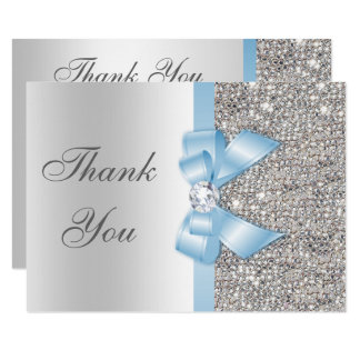 Baby Blue Faux Bow Silver Sequins Thank You Card