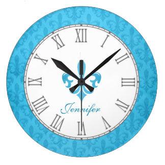 Baby blue fleur de lis damask name wall clock