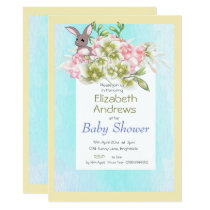 Baby  Blue Floral Rabbit Shower Invitation