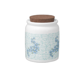 baby blue flowers candy jar