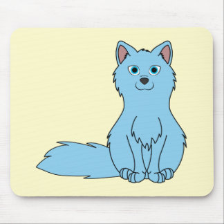 Baby Blue Fox Sitting Mouse Pad
