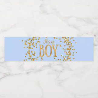 Baby Blue Gold Baby Shower Water Bottle Labels