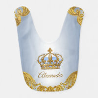 Baby Blue Gold Prince Baby Bibs