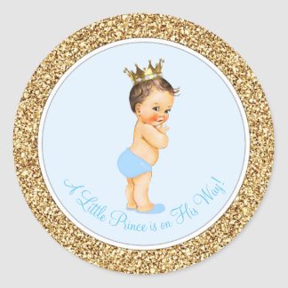 Baby Blue Gold Prince Baby Shower Classic Round Sticker