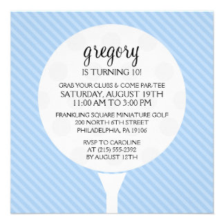 Baby Blue Golf Ball Miniature Golf Birthday Party Announcements