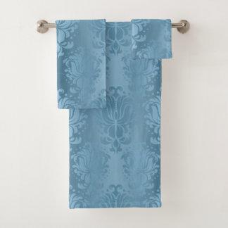 Baby Blue Gradient Damask Print Towlet Set