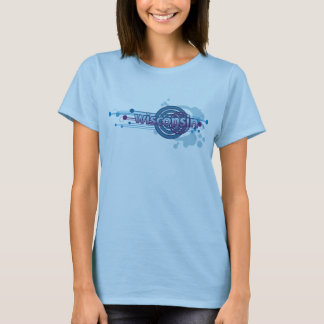 Baby Blue Graphic Circle Wisconsin T-Shirt