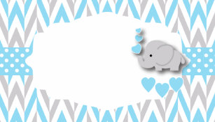 Baby Blue Gray Elephant Shower Food Labels Business Card