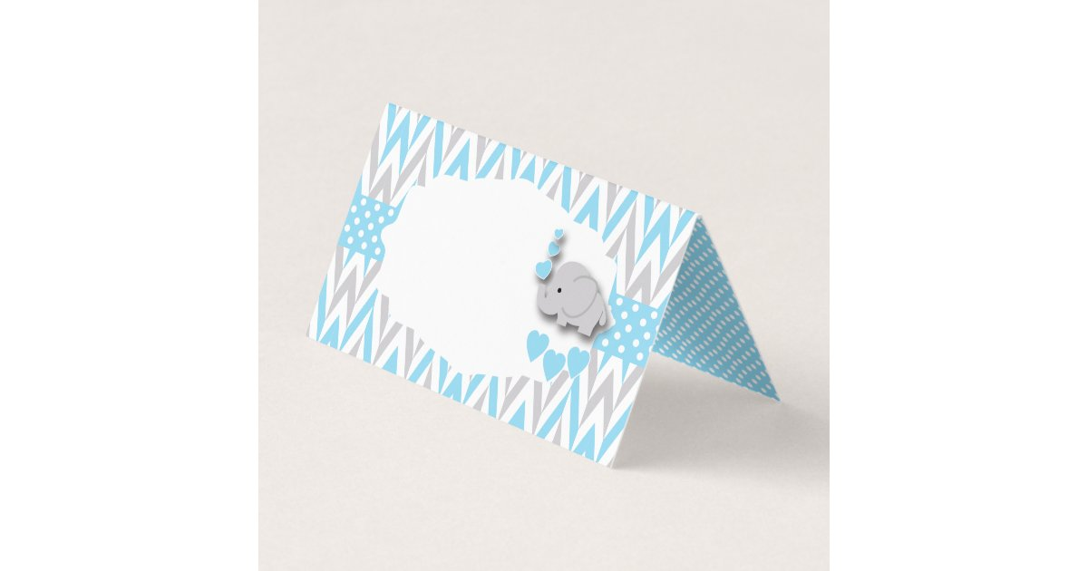Baby Blue Gray Elephant Baby Shower | Food Labels Business Card ...