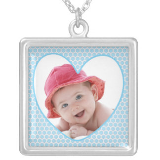 Baby Blue Heart Baby Photo Square Pendant Necklace
