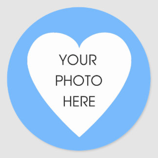 Baby Blue Heart Border Stickers - Customized