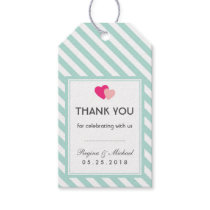 Baby Blue Heart Stripes Pattern Wedding Gift Tag