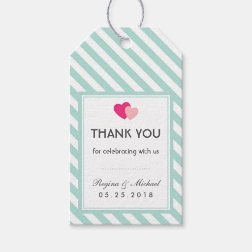 Wedding Gift Tag Lines : Baby Blue Heart Stripes Pattern Wedding Gift Tag Zazzle