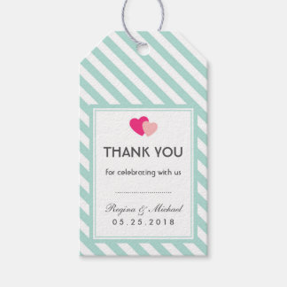 Baby Blue Heart Stripes Pattern Wedding Gift Tag Pack Of Gift Tags