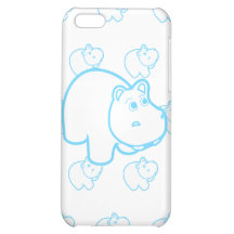 Baby Blue Hippo iPhone 5C Cases