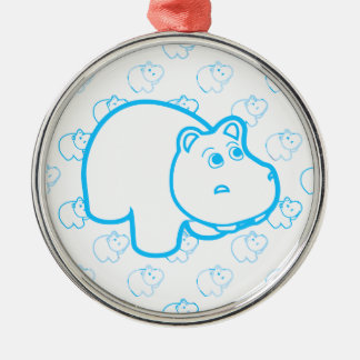 Baby Blue Hippo Metal Ornament