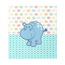 Baby blue hippo on colorful buttons background notepad