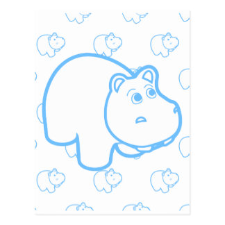 Baby Blue Hippo Postcard
