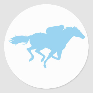 Baby Blue Horse Racing Classic Round Sticker