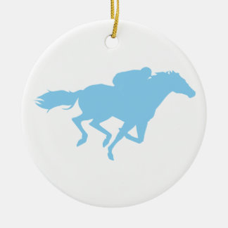 Baby Blue Horse Racing Christmas Ornament