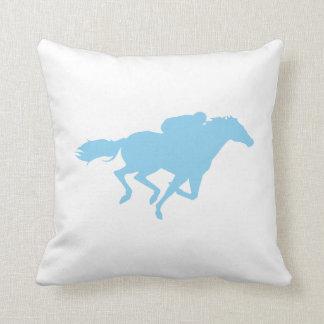 Baby Blue Horse Racing Throw Pillow