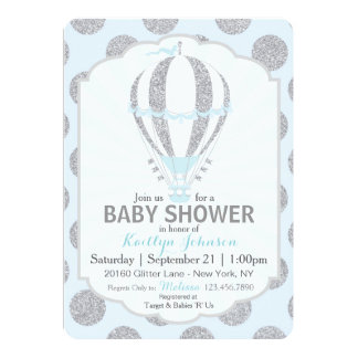 Baby Blue Hot Air Balloon Baby Shower Card
