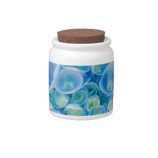 Baby blue hydrangea bloom candy jars