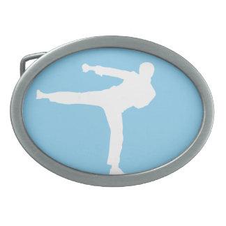 Baby Blue Karate Oval Belt Buckle