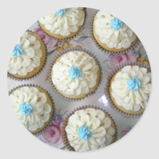 Baby Blue Lace Cupcakes Classic Round Sticker