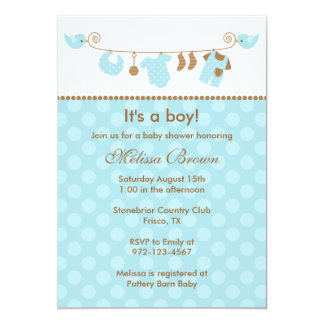 "Baby Blue Laundry Line Baby Shower Invitations 5"" X 7"" Invitation Card"