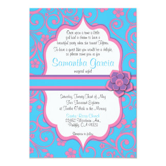 Baby Blue & Light Pink Quinceañera Invite,  15 Card