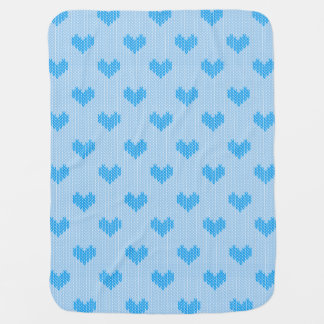 Baby Blue Little Knitted Hearts on blue Receiving Blanket
