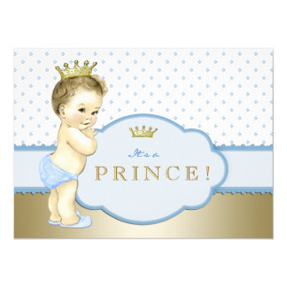 """Baby Blue Little Prince Baby Shower 5.5"""" X 7.5"""" Invitation Card"""