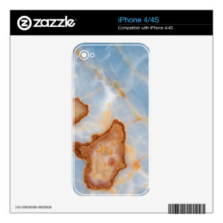 Baby Blue Marble with Rusty Veining Decal For iPhone 4