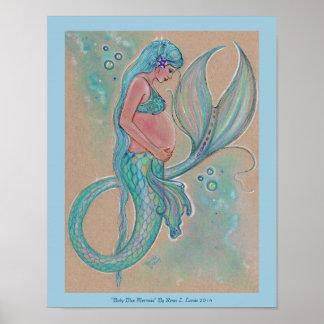 Baby blue mermaid poster by Renee Lavoie