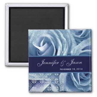 Baby Blue & Midnight Wedding Lace Rose Bouquet 2 Inch Square Magnet