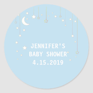 Baby Blue Moon Stars Baby Shower Stickers