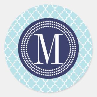 Baby Blue Moroccan Tiles Lattice Personalized Round Sticker