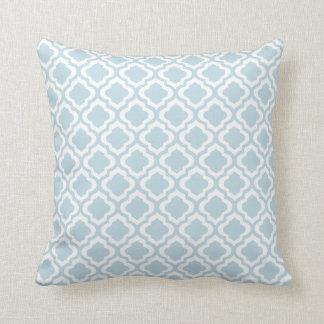 Baby Blue Moroccan Trellis Quatrefoil Clover Throw Pillows