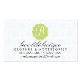 Baby Blue Moroccan Trellis Quatrefoil Personalized Business Card Template