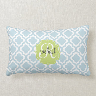 Baby Blue Moroccan Trellis Quatrefoil Personalized Throw Pillow