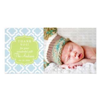 Baby Blue Moroccan Trellis Quatrefoil Thank You Photo Card