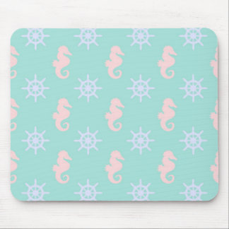 Baby Blue Nautical Pattern Mouse Pad