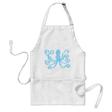 Beach Themed Baby Blue Octopus Adult Apron