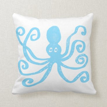 Beach Themed Baby Blue Octopus Throw Pillow